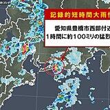 愛知県で約100ミリ 記録的短時間大雨情報