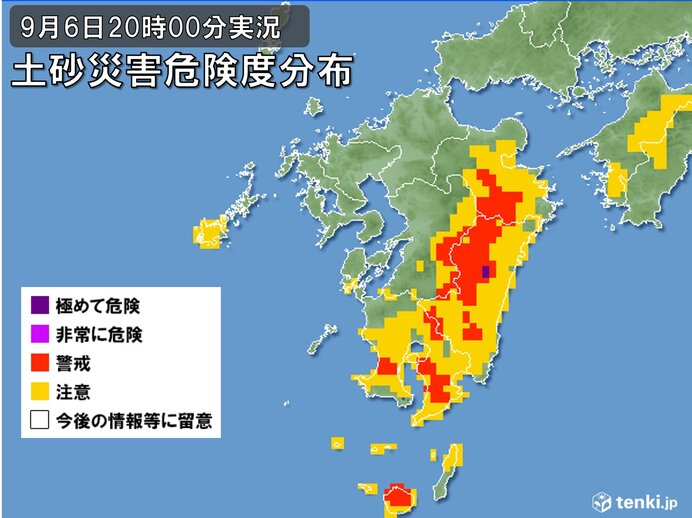 宮崎県や大分県、鹿児島県中心に土砂災害の危険度高まる