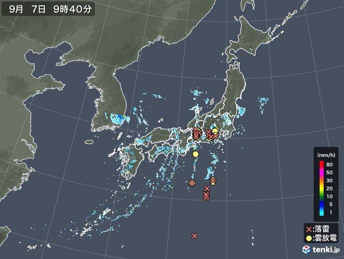 西日本から東日本にかけて雨雲発生中 落雷の所も
