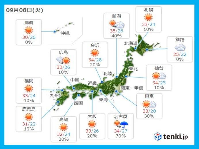 きょうの天気 沖縄、九州は晴れ 近畿から北海道は不安定に