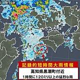 高知県で120ミリ以上 記録的短時間大雨情報