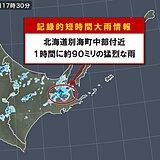 北海道 別海町中部付近で約90ミリ 記録的短時間大雨情報