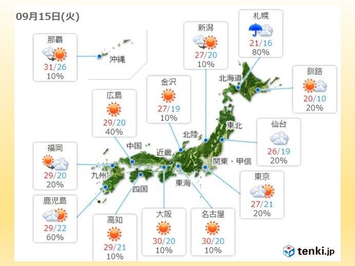 15日 九州から東海はカラッと暑い 東北や北海道は肌寒さ解消も
