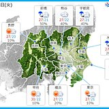 15日 関東の天気 雲が目立って 夕方から雨も