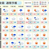 週間天気 木曜日~金曜日は広く雨 この雨を境に季節が進む