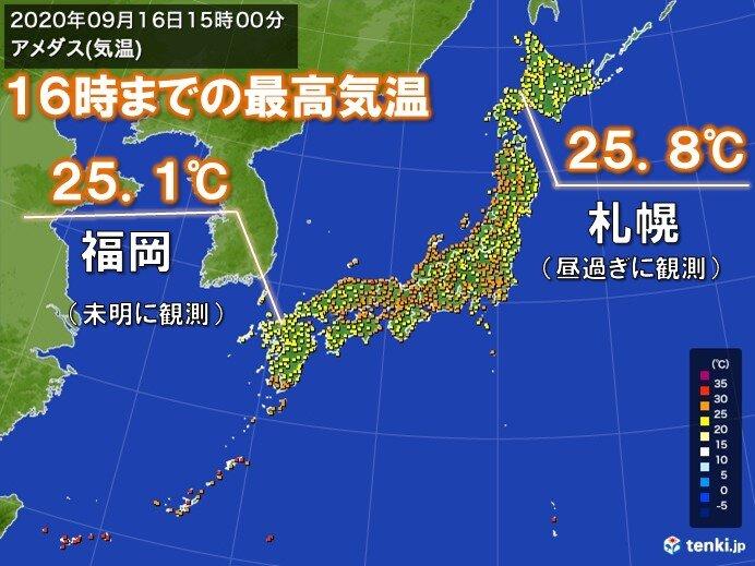 九州では日中の気温25℃以下も 札幌の方が日中の気温は高かった