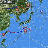 18日 台風から変わった低気圧 東へ