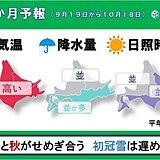 北海道の1か月予報 夏と秋のせめぎ合い 初冠雪は遅い?