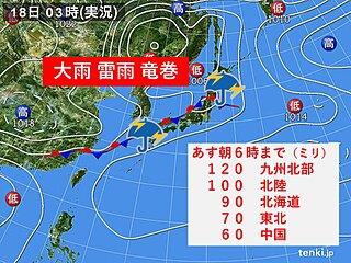 18日 全国で不安定な天気 大雨や雷雨に警戒