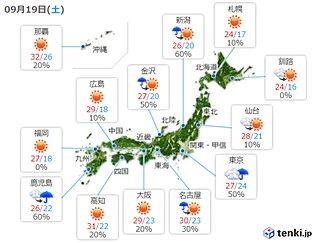 19日 4連休初日の天気 広く天気回復も 関東は雨で気温が大幅低下