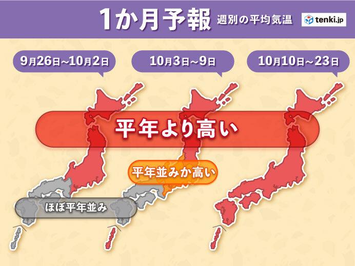 もうすぐ秋雨シーズン終わりへ 季節の進みは遅く 1か月予報