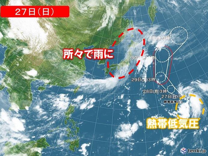 27日 所々で雨具が必要に 東京19日連続で雨か 南の海上で台風発生へ