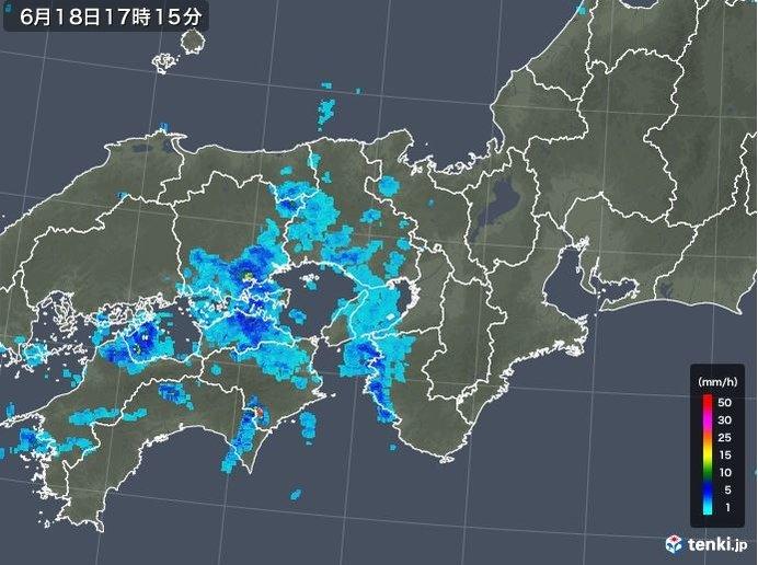 18日夜は にわか雨の可能性あり