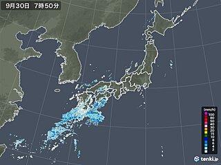 30日 九州・中国・四国は雨や雷雨で激しく降る所も 雨雲はゆっくり東へ