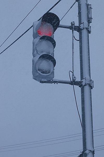 LED信号機は雪がくっついて見えにくい。