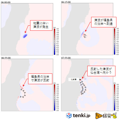 11月22日の福島県沖の地震での津波を再現シミュレーションをした結果