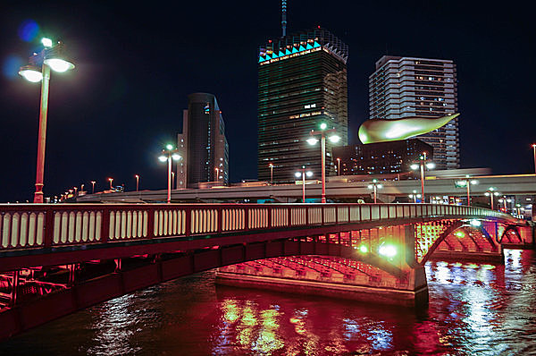 現在の吾妻橋の夜景