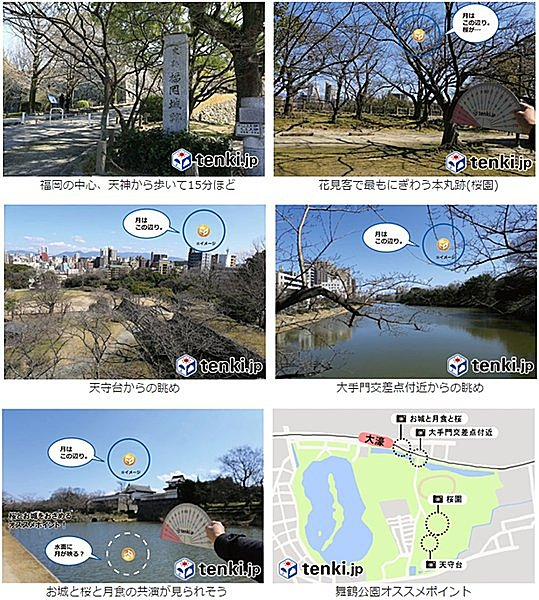 月食花見鑑賞スポット:福岡編~舞鶴公園~
