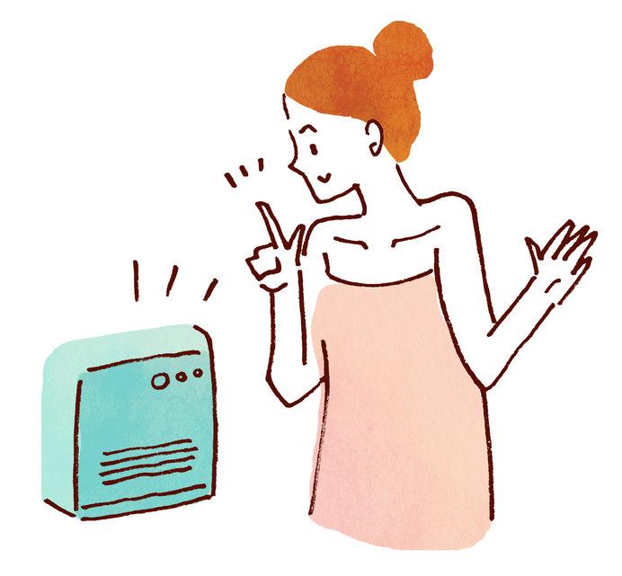 脱衣所は暖房器具で室温を上げましょう。