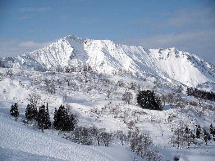 ゲレンデから見える権現岳の美しい姿