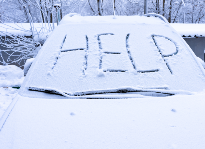 海外の豪雪地帯では、フロントウィンドウにこのようなメッセージも