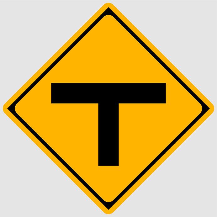 前方に「T形」道路交差点があることを示す道路標識