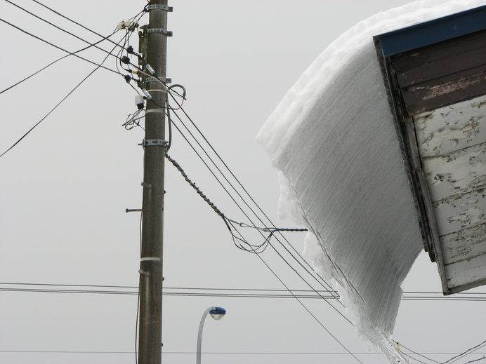 雪解けの季節は上も見て歩かなければ。