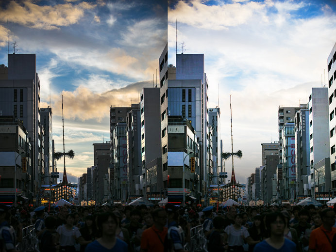 左側:やや明るさを抑えて撮影 右側:白飛びして空の表情が見えない写真