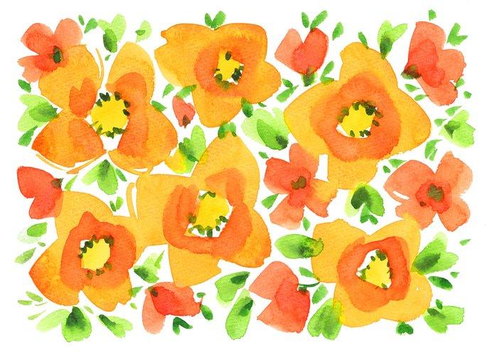 葉っぱや果実などが入った花柄に注目です