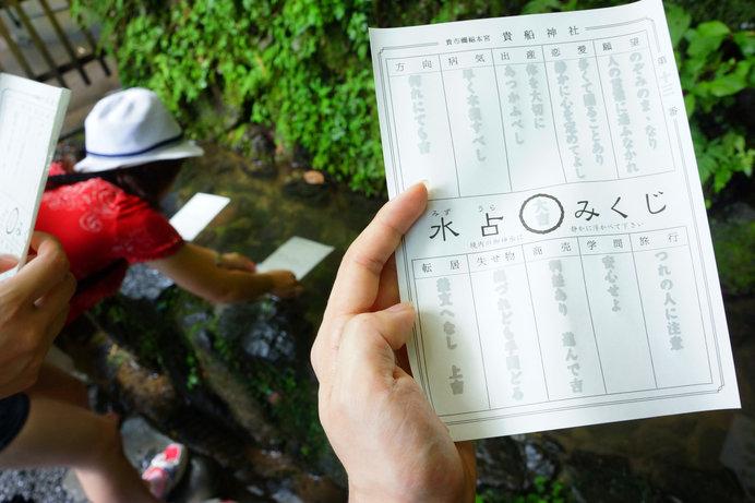 貴船神社の名物「水占い」