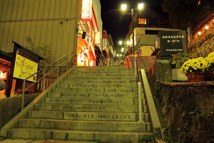 伊香保温泉 石段街 晶子の「伊香保の街」の詩が刻まれている
