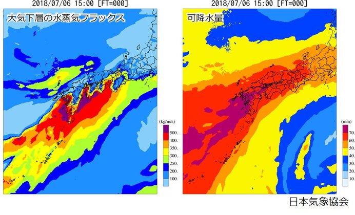7月6日15時における大気下層の水蒸気フラックス(左)と可降水量(右)
