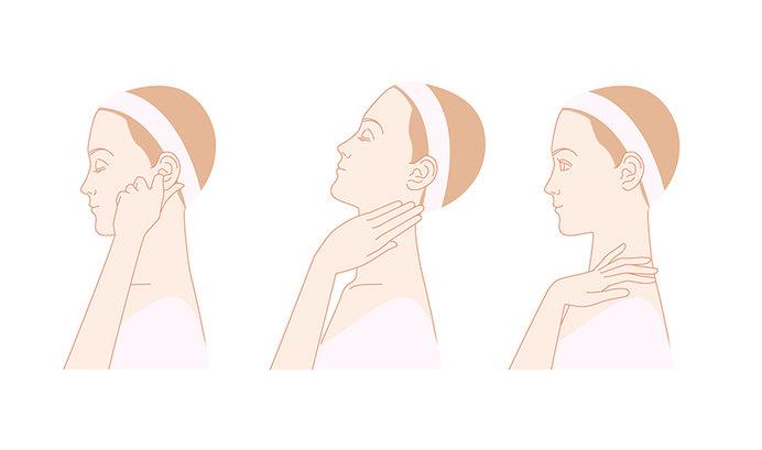 首回りや耳のストレッチは、頭皮の筋膜をゆるめてくれます