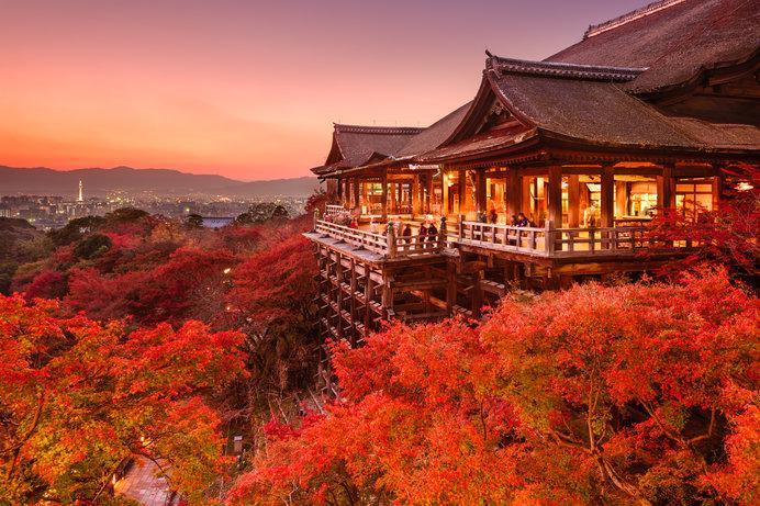 晩秋の頃、清水の舞台は鮮やかな紅葉に染まります♪