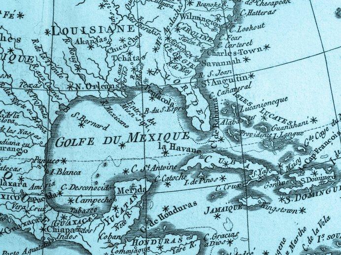 バミューダトライアングルのあるフロリダ半島の古地図