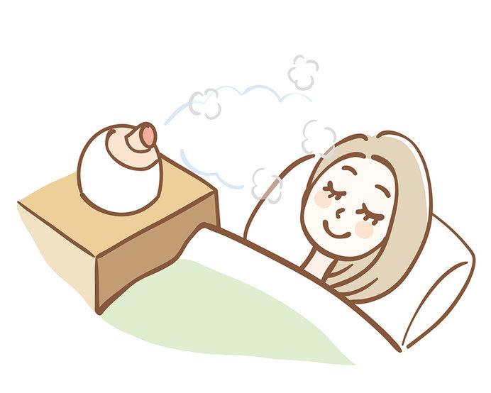 質のよい睡眠をとることが何より大事ですが、睡眠時の乾燥も防ぎましょう