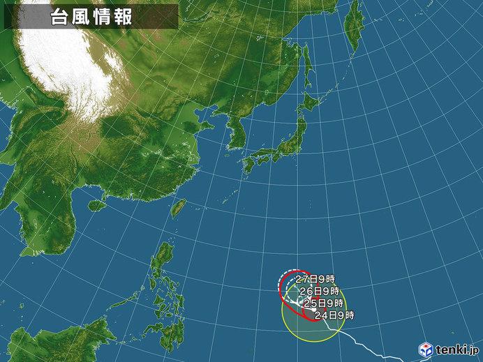 2019年台風2号の進路と強さの予想図(2019年2月24日9時発表)