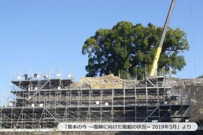 崩落した石垣の復旧工事中(2019年1月末現在)