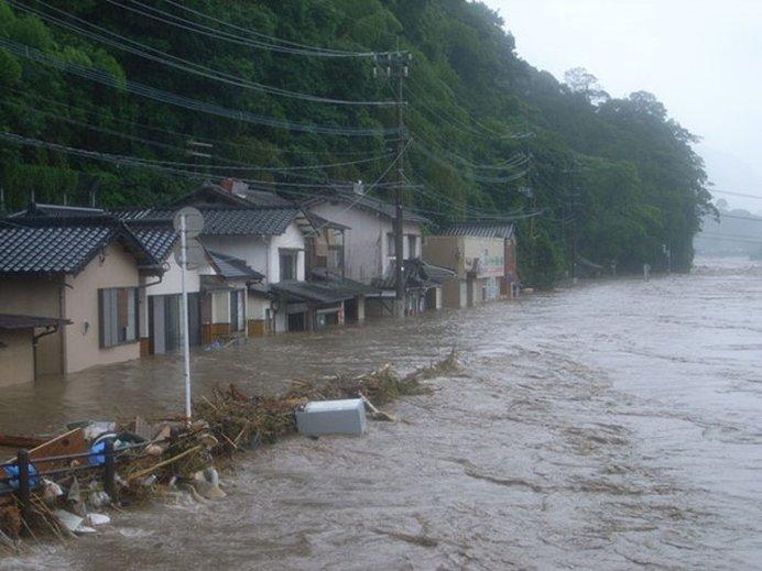 山国川中流部の浸水状況(出典:国土交通省ホームページ)