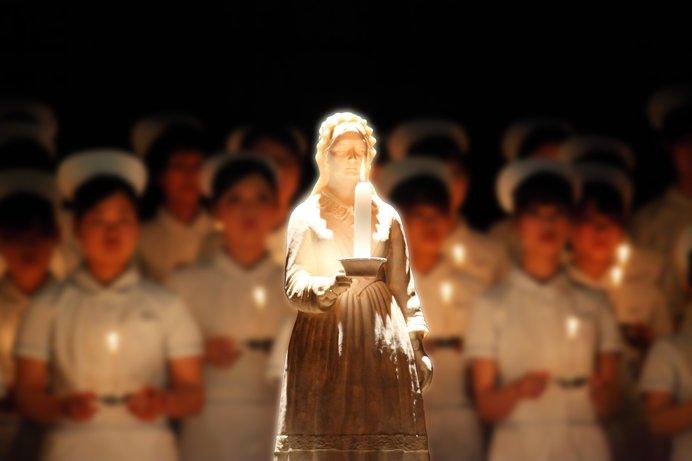戴帽式の白衣の天使たち(イメージ)