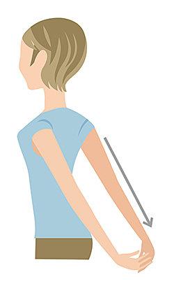 腕を後ろに引きながら、胸を前に押し出すようなイメージで!