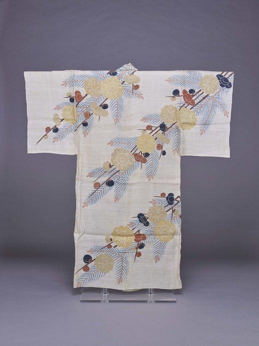 《白麻地槍梅若松模様浴衣》 江戸時代 18世紀後半 東京国立博物館