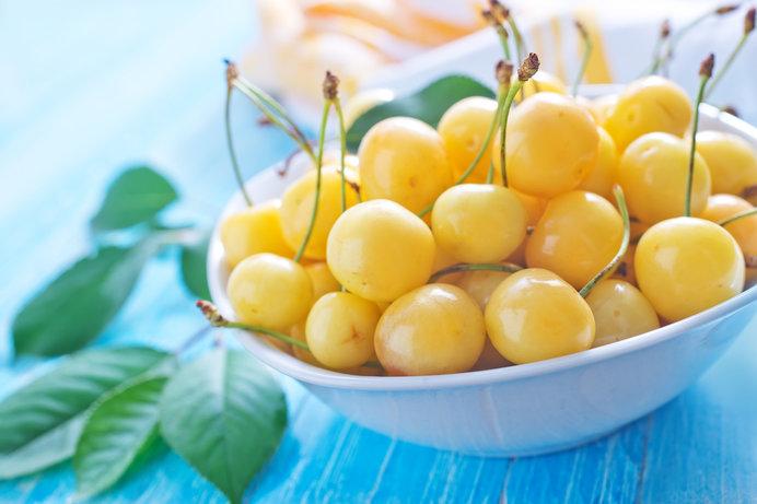めずらしい黄色いさくらんぼ