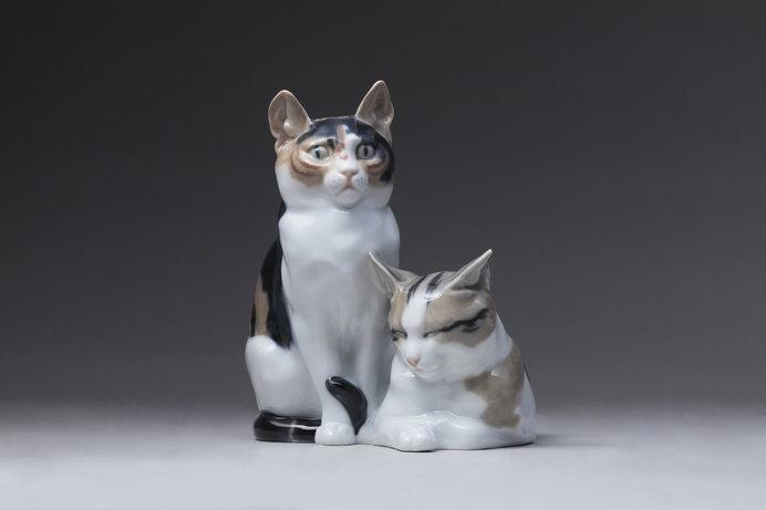 《二匹の猫》 オットー・ピルツ 1934~1940年頃 個人蔵