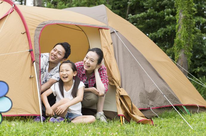 13m四方の広々テントサイトはプライベート感たっぷりで、子どもものびのび過ごせます♪