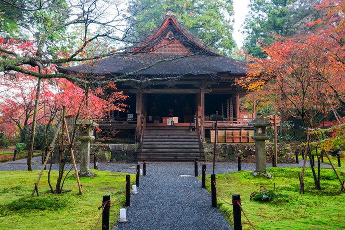 京都大原「三千院」。紅葉時期の「往生極楽院」