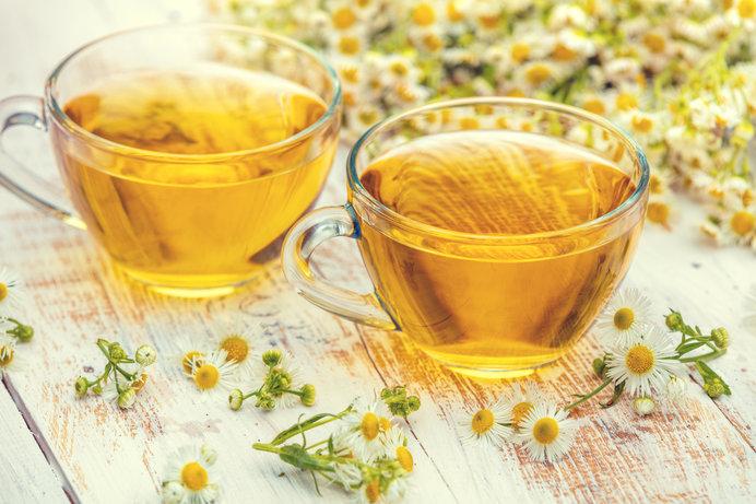 カモミールの花とお茶