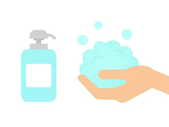 シャンプー剤は頭皮に直接つけず、手でしっかり立てましょう