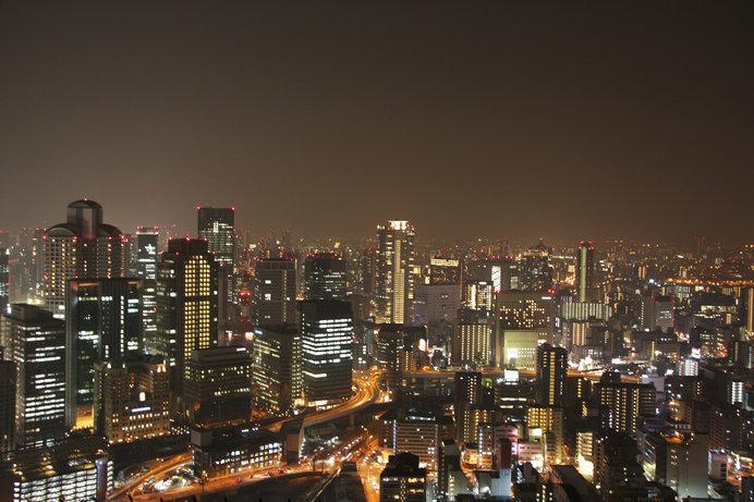 「梅田スカイビル」から望む、美しい摩天楼