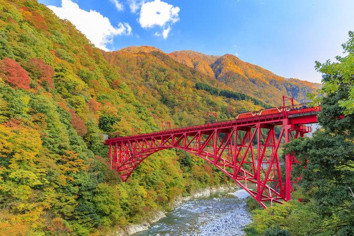 紅葉とエメラルドグリーンの川のコントラストは絶景!